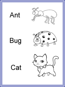 Three Letter Words worksheets for kids to read & read with pictures.
